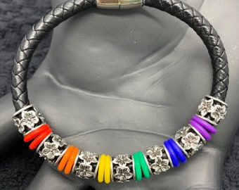 Magnetic Black Leather Cord Bracelet, Rainbow Spacer Rings & Tibetan Hibiscus Flower Beads