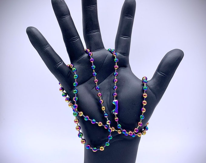 """Extra Large 6mm Stainless Steel Ball Chain Necklace, Heavy, Metal Beads, Men's, Women's or Unisex 29.5"""" Colorful Rainbow"""
