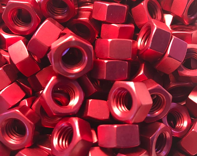 Red Anodized Colored Aluminum Hex Nut 5/16-18