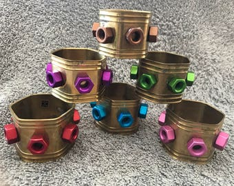 Vintage Brass Hexagon Napkin Rings with Anodized Rainbow Colored Aluminum Hex Nut 5/16-18 Purple, Green, Blue, Red, Pink & Brown.