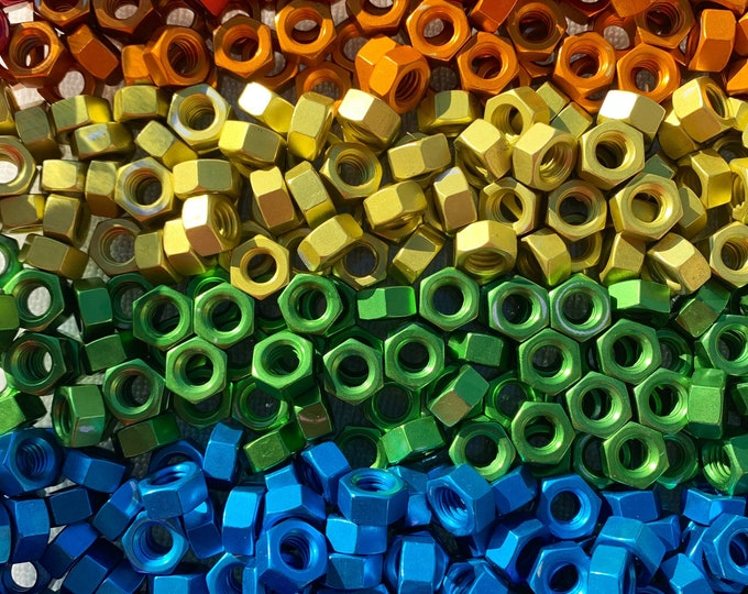 Rainbow Anodized Colored Aluminum Hex Nuts 5/16-18 Purple, Green, Blue, Red, Orange & Yellow.