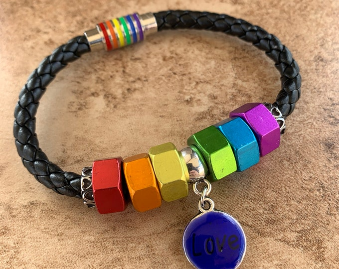 Magnetic Braided Leather Bracelet 6mm wide - Various Design Styles; Gay Pride, LGBTQ, Skull Tibetan, Minimalist & Friendship Bracelet