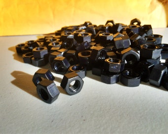 Black colored nylon hex nuts 5/16-18