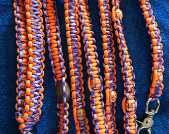 Wooden Brown Mixed Beads and Purple and Orange Dog Leash 6 ft long
