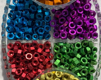 Anodized Colored Aluminum Hex Nut 5/16-18 Purple, Green, Blue, Red, Orange, Yellow & Brown.