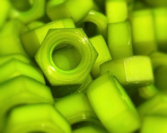 Granny Smith Green colored nylon hex nuts 5/16-18