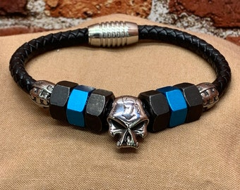 Magnetic Black Leather Cord Bracelet, Skull Bead, Black and Blue Hex Nuts, with Tibetan Beads