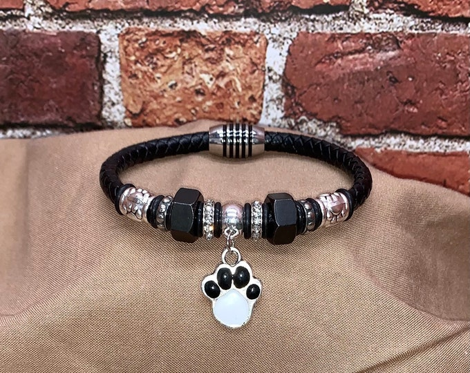 Magnetic Black Leather Cord Bracelet, Dog Paw Bangle, Black Hex Nut, Rhinestone & Tibetan Beads