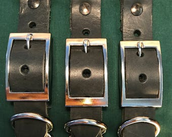 """Black Leather Collar Blank Adjuster 1"""" Wide For Paracord Collars"""