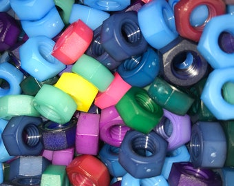 Colored Nylon Hex Nut 5/16-18 Colors - Mixed Grab Bag Style
