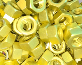 Yellow Anodized Colored Aluminum Hex Nut 5/16-18