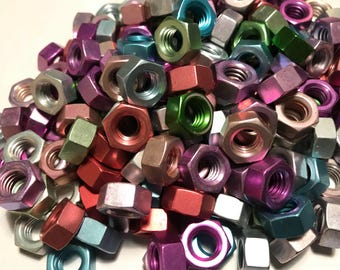 Pastel Anodized Colored Aluminum Hex Nut 5/16-18 Purple, Green, Blue, Red, Pink & Brown. MIXED BATCH OF 100 PIECES!