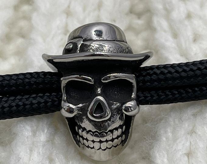5Pcs Stainless Steel Beads Cowboy Skull Large Hole 6mm Slide Charm Pendant DIY Men Bracelet Making Supplies Handmade Jewelry Findings