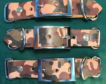 """Camouflaged Leather Collar Blank Adjuster 1"""" Wide For Paracord Collars"""