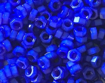 Sapphire Blue colored nylon hex nuts 5/16-18