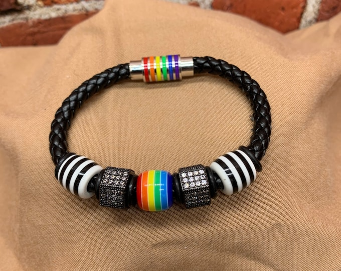 Magnetic Black Leather Cord Bracelet, Rainbow Resin Bead, Black and White Resin Beads, with Zircon Diamond Hex Nuts