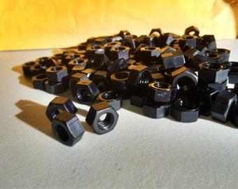 Black colored nylon hex nuts 5/16-18