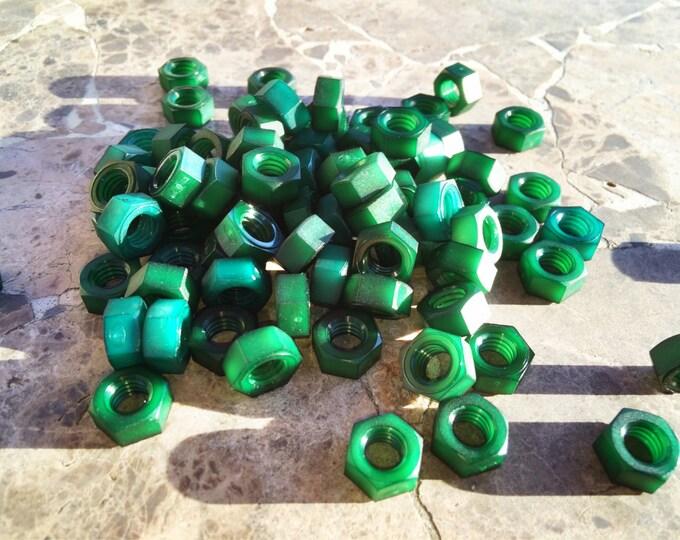 Emerald Green colored nylon hex nuts 5/16-18