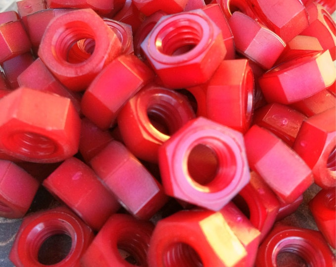 Red colored nylon hex nuts 5/16-18