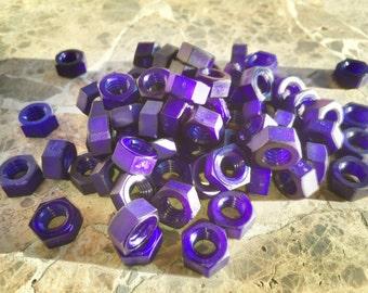Purple colored nylon hex nut 5/16-18