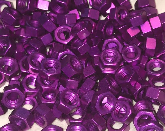 Purple Anodized Colored Aluminum Hex Nut 5/16-18