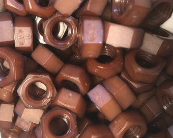 Brown colored nylon hex nuts 5/16-18