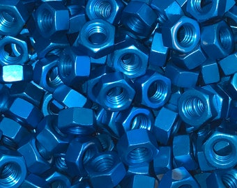 Blue Anodized Colored Aluminum Hex Nut 5/16-18