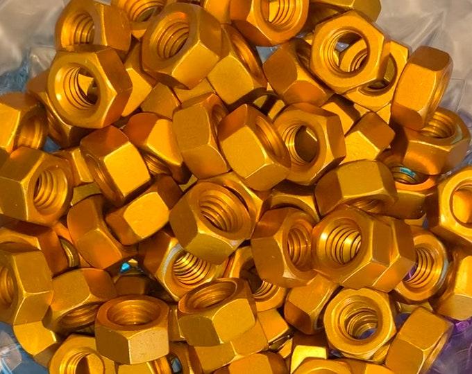 Orange Anodized Colored Aluminum Hex Nut 5/16-18