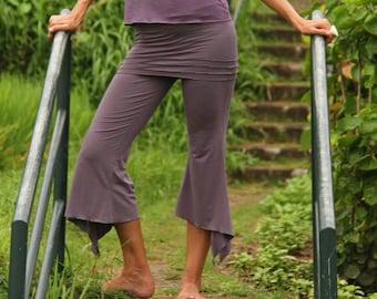 SKIRTED YOGA PANTS  - flowy open slit dance pants - pixie pants -