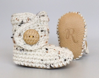 Boots for Babies, Boho Baby Gifts, Ivory Infant Booties, Beige Leather Baby Shoes, Unisex Baby Clothes, Crochet Baby Boots, Boots for Baby