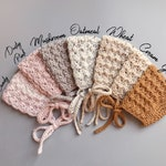 Crochet Baby Bonnets in Ginger, Dusty Pink, Oatmeal, and Cream from sizes Newborn to Toddler, Handmade Baby Shower Gift
