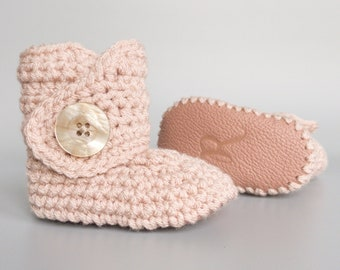 Dusty Pink Crochet Baby Booties with Pink Leather Soft Soles, 3-6 Month Baby Girl Crib Shoes, Coming Home Outfit, Handmade Baby Shower Gift