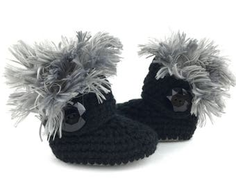 Uggs for Babies, Silver Leather Infant Boots, Fur Baby Ugg Booties, Black Walkers for Girl, Gray Crochet Newborn Shoes, Winter Baby Clothes