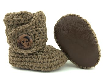 fd92c41dd Gender Neutral Baby Clothes Ivory and Brown Newborn Booties