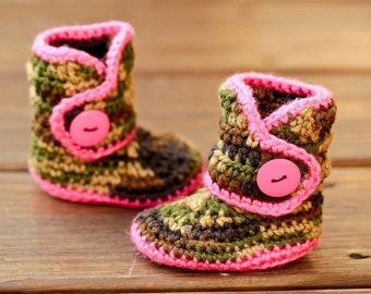 2de44795359c Camo Baby Booties Crochet Baby Shoes Gender Neutral Boots