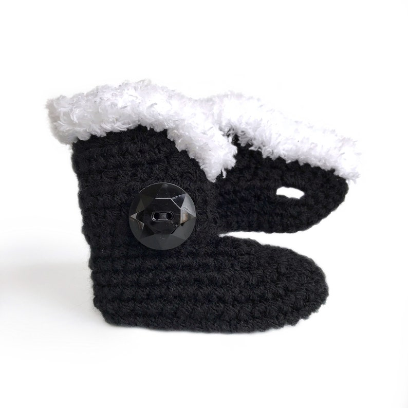 245c8548bb893 Knit Baby Clothes, Black Booties for Girl, Knitted Girl Clothing, Leather  Crib Shoes, White Fur Booties, 12-18 Months, Winter Baby Shoes