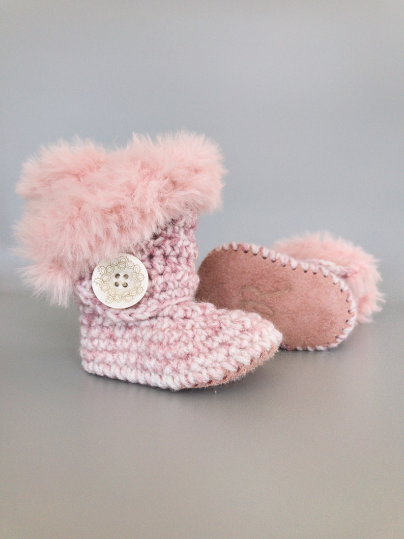 ea3c6f45823 Baby Gifts for Girls, Pink Baby Shoes, Blush Crochet Clothes, Knit Girl  Outfit, Pink Suede Newborn Boots, Fur Crib Shoes, Valentine's Outfit