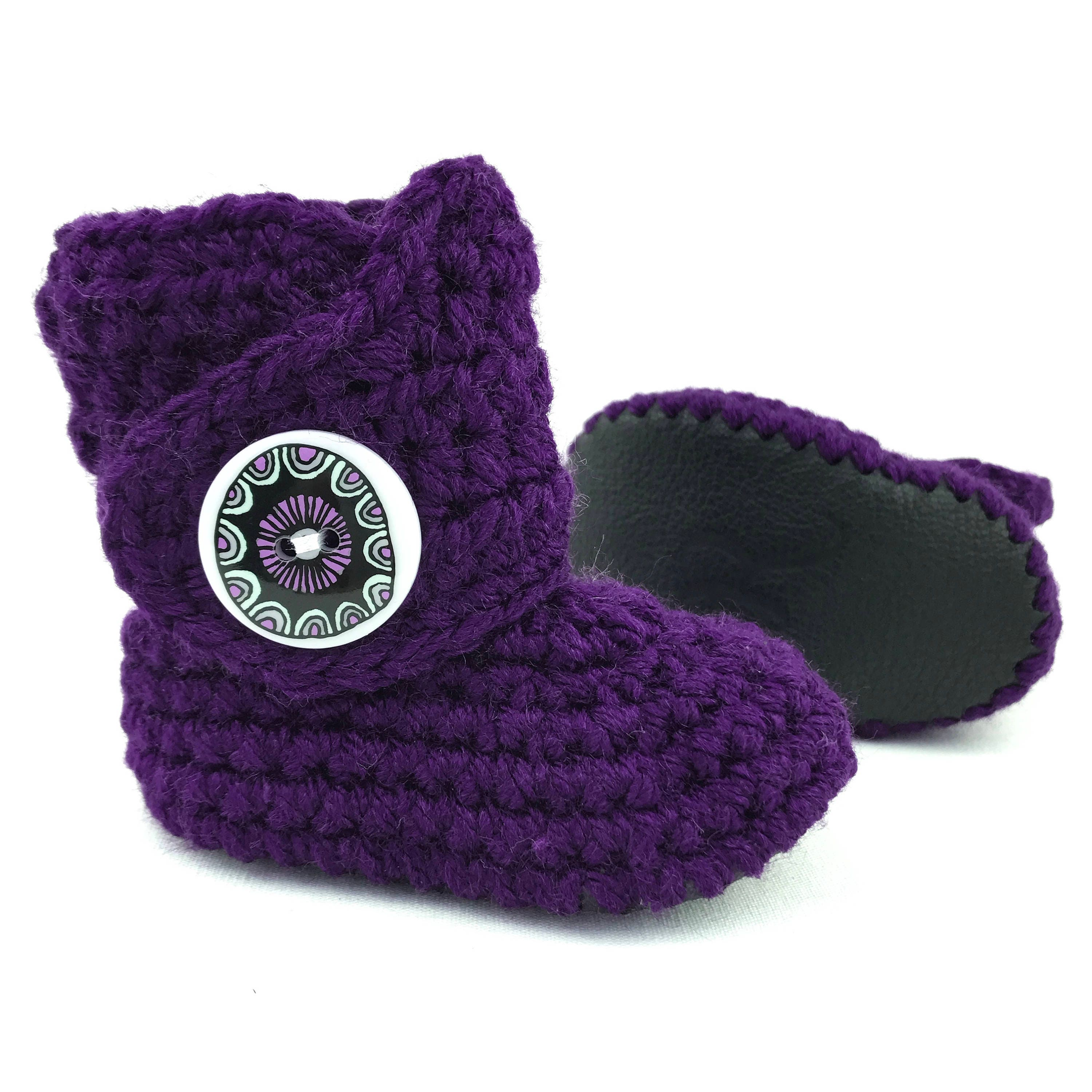 6aa83c086a2a6 Girl Crib Shoes, Black Soft Soles, Crochet Baby Booties, Dark Purple Infant  Boots, Knit Baby Shoes, LSU Baby Clothes, Baby Shower Present