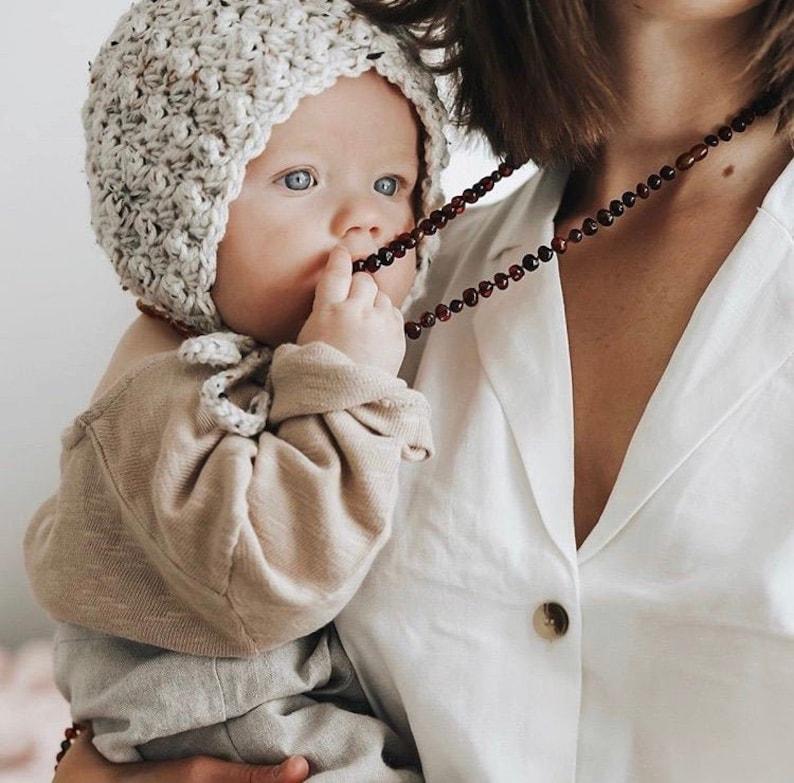 Baby Shower Gender Neutral Gift Ivory Knit Bonnet Oatmeal image 0
