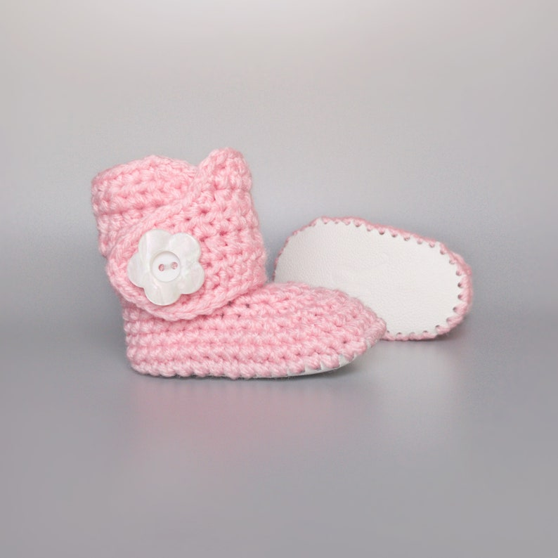 Pink Baby Shoes White Leather Crib Shoes Easter Baby Gift image 0