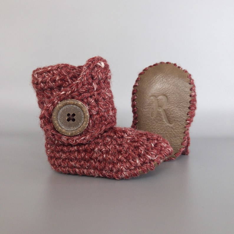 Barn Red Crochet Baby Booties with Soft Hemp Yarn and Brown image 0