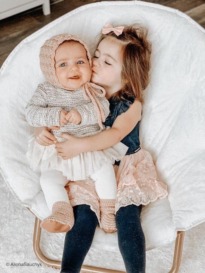 Dusty Pink Baby Bonnet Baby Girl Bonnet Crochet Baby Hat image 0