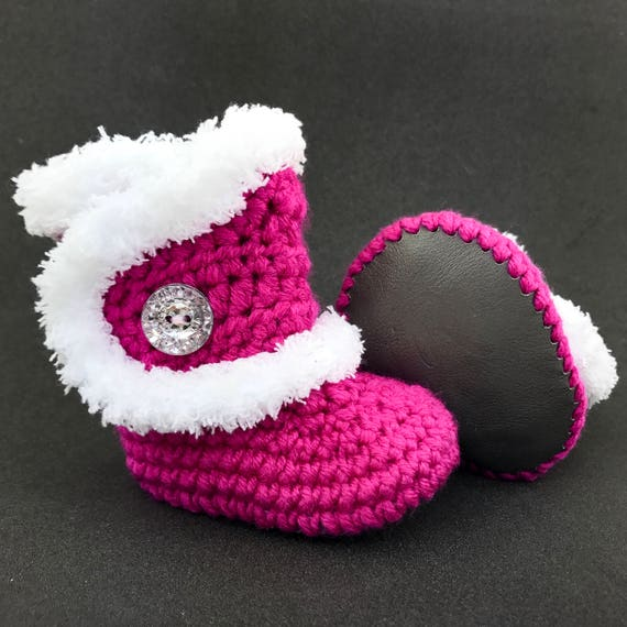 Pink Infant Boots Baby Girl Uggs White Fur Booties Fuzzy   Etsy b0a8945a6875