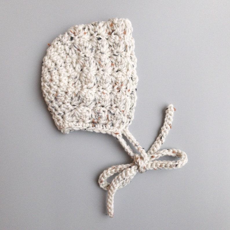 Ivory Oatmeal Gender Neutral Crochet Baby Bonnet Handmade image 0