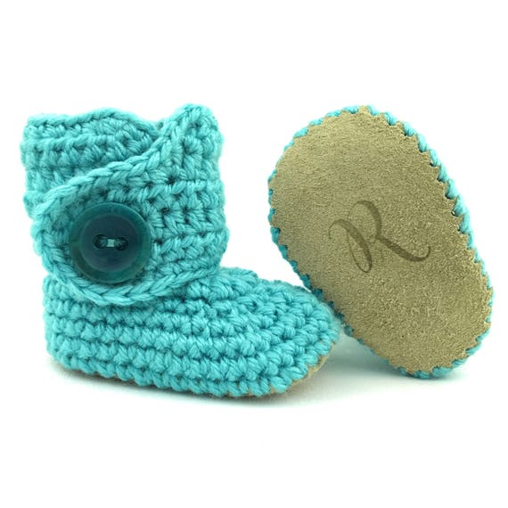 668942bc5ca4 Aqua Baby Shoes Crochet Baby Booties Newborn Knit Outfit