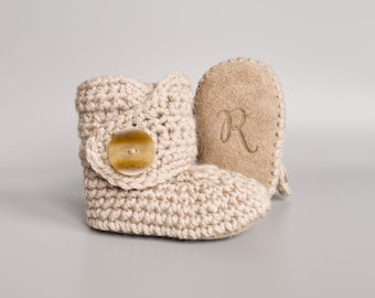 Neutral Linen Crochet Baby Booties and Soft Leather Suede Crib Shoes with Working Button for Infants 0-3 M to 12-18 M, Boho Baby Shower Gift