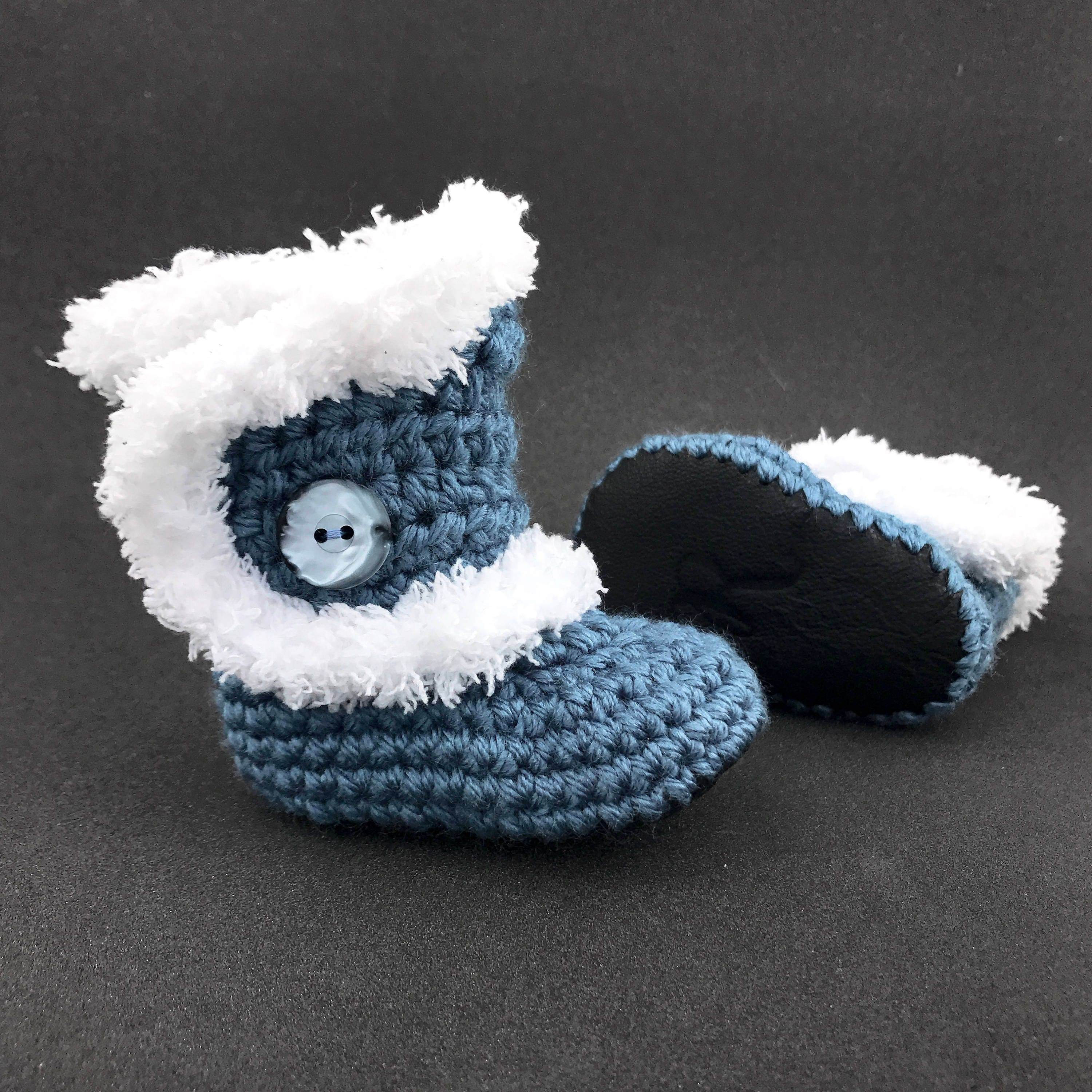 0cbe22c256333 Winter Boots for Girls, Dusty Blue Infant Clothes, White Fur Booties, Black  Leather Crib Shoes, Air Force Baby Outfit, Baby Girl Shoes