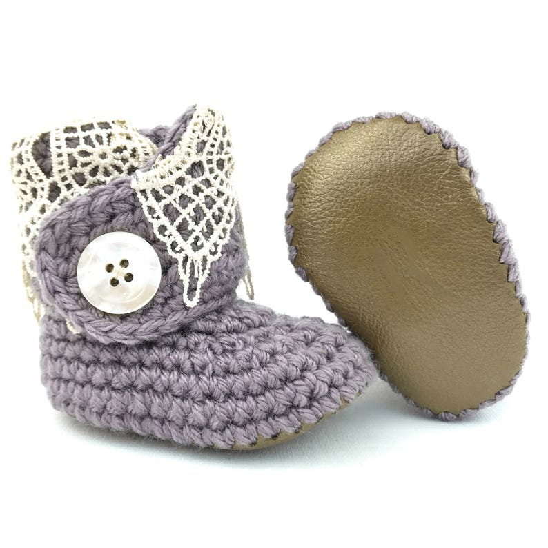 0b201e4dea5aa Pastel Purple Booties, Lacey Baby Boots, Dressy Baby Shoes, 6-12 Months,  Baby Shower Gift, Lavender Baby Clothes, Wisteria Baby Shoes