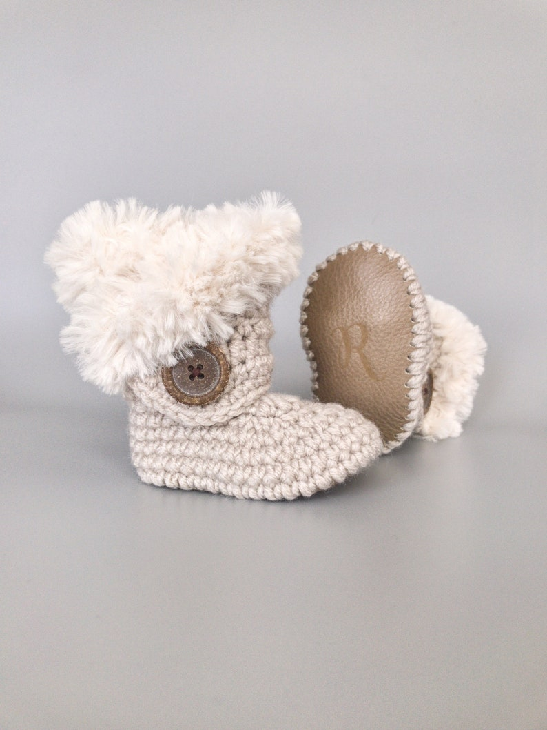 Knitted Baby Booties Neutral Linen Baby Shoes Infant Gift image 0