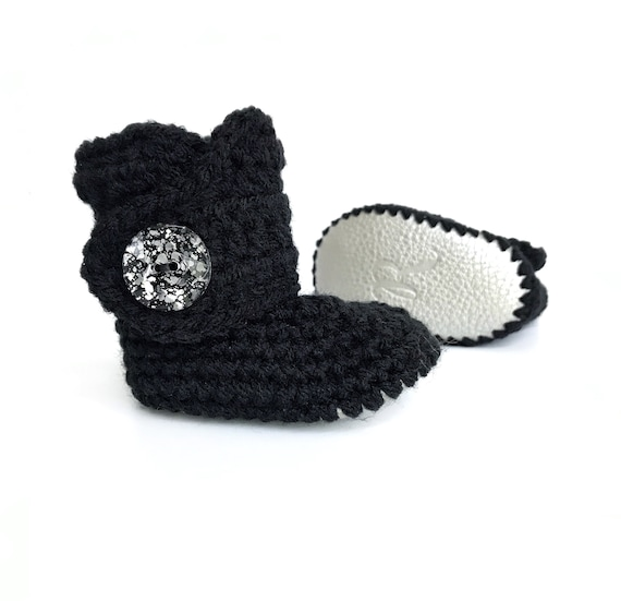 06d06663acf58 Crochet Baby Booties, Black Infant Shoes, Silver Leather Uggs, Sparkly Crib  Shoes, Bling Baby Booty, Knitted Baby Clothes, Gift for Girl